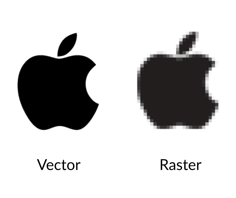 The visual difference between raster and vector graphics