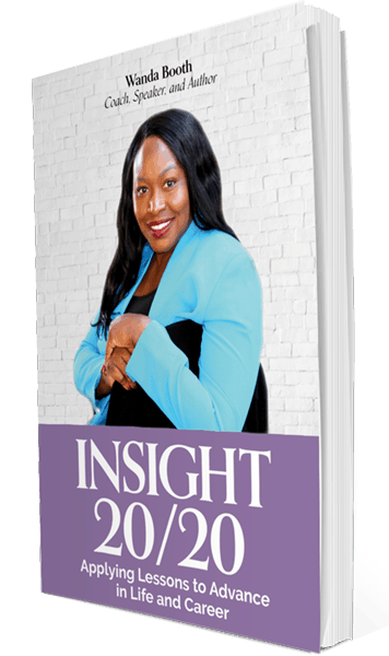 "Wanda Booth's published book, ""Insight 20/20"". Designed by Marisa Gonzales Studios"