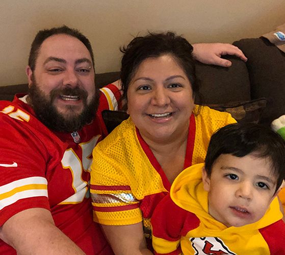 Marisa Gonzales Family Pic 2020 - Chiefs win Playoffs
