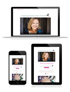 Christa M. Hines website design layout on laptop, phone, tablet