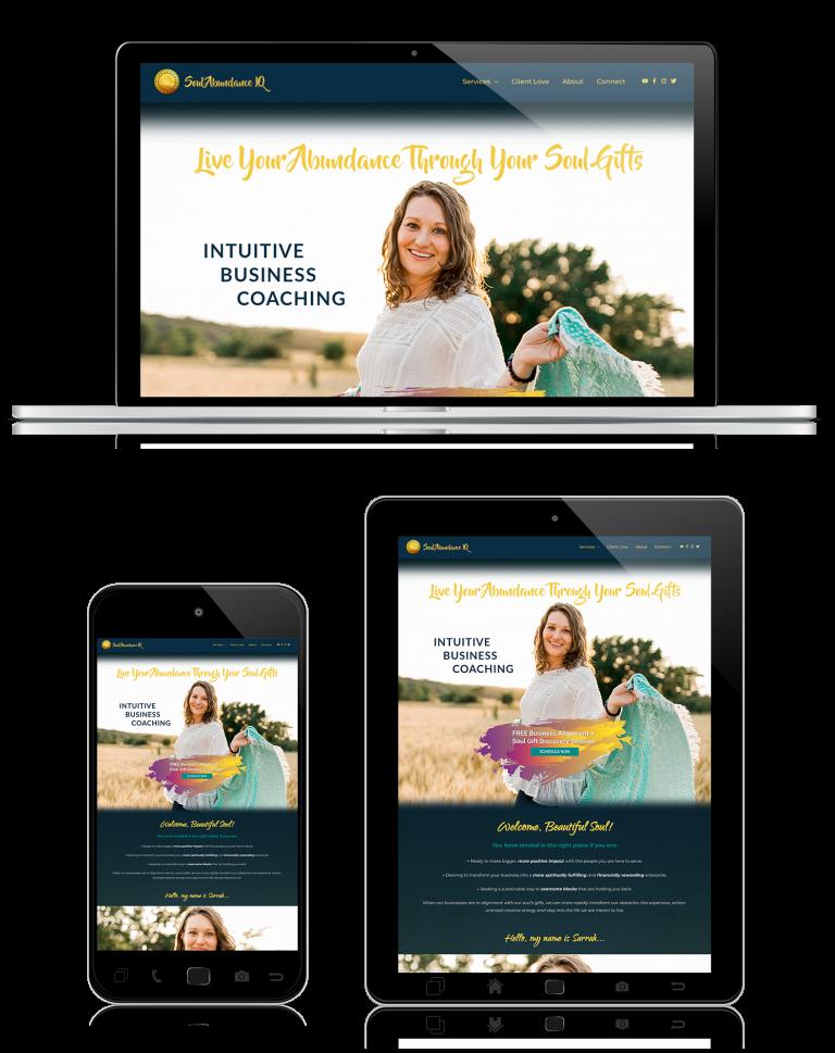 Soul Abundance IQ homepage website re-design