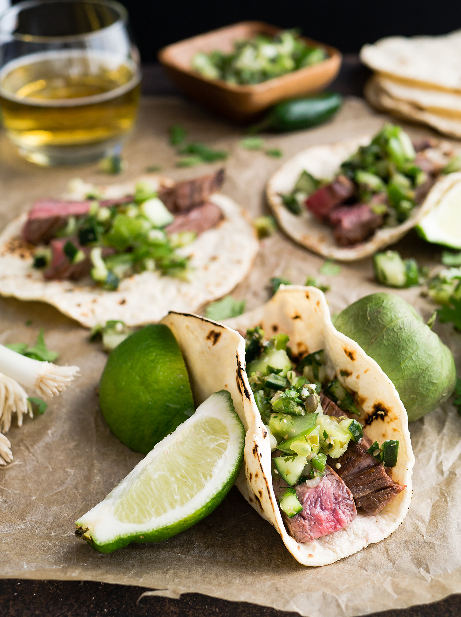 Mexican Tacos - mouth watering w/ lime, meat, and tortillas