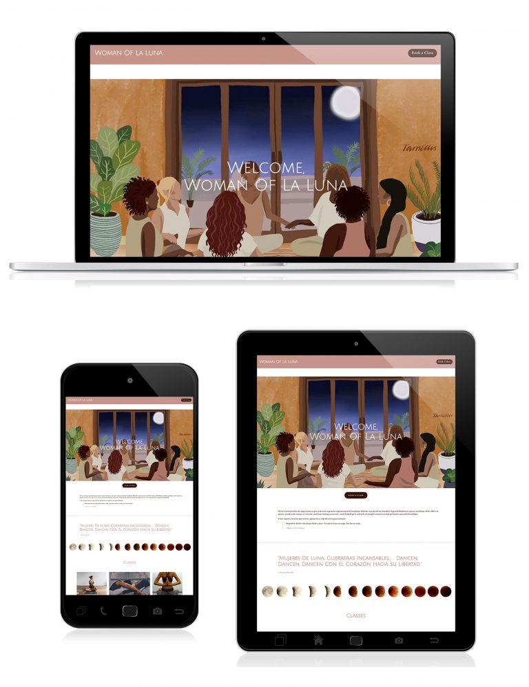 Woman of La Luna homepage design - Squarespace