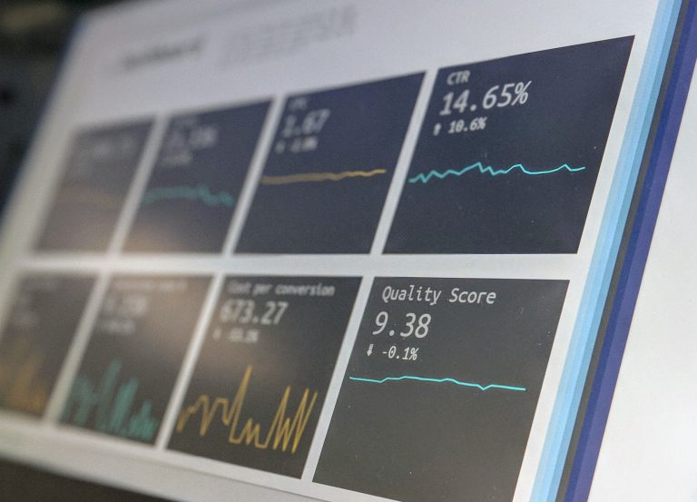 Computer monitor with various website analytics